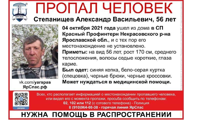 В Ярославской области ищут пропавшего 56-летнего мужчину, нуждающегося в медицинской помощи