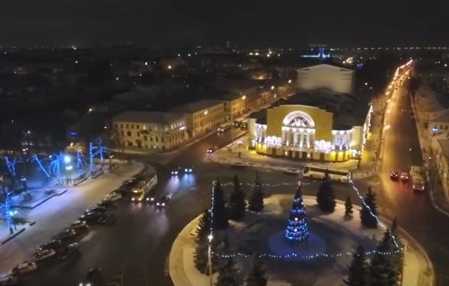 Новогодний Ярославль с высоты птичьего полета снял местный житель – видео