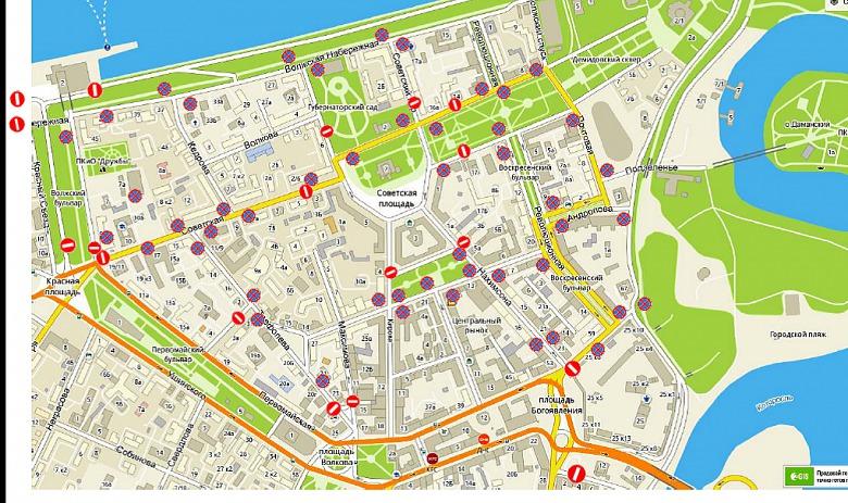 «Красный» Ярославль: центр города сковали пробки