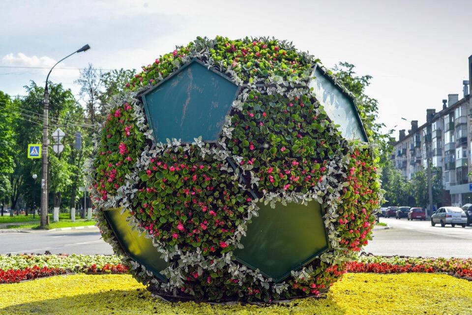 Клумба в виде футбольного мяча украсила Ярославль