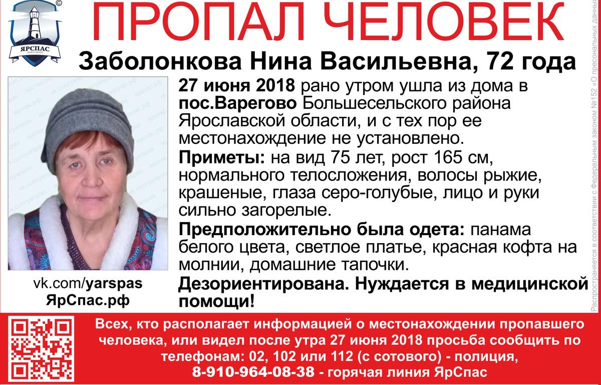 В Ярославской области пропала 72-летняя женщина