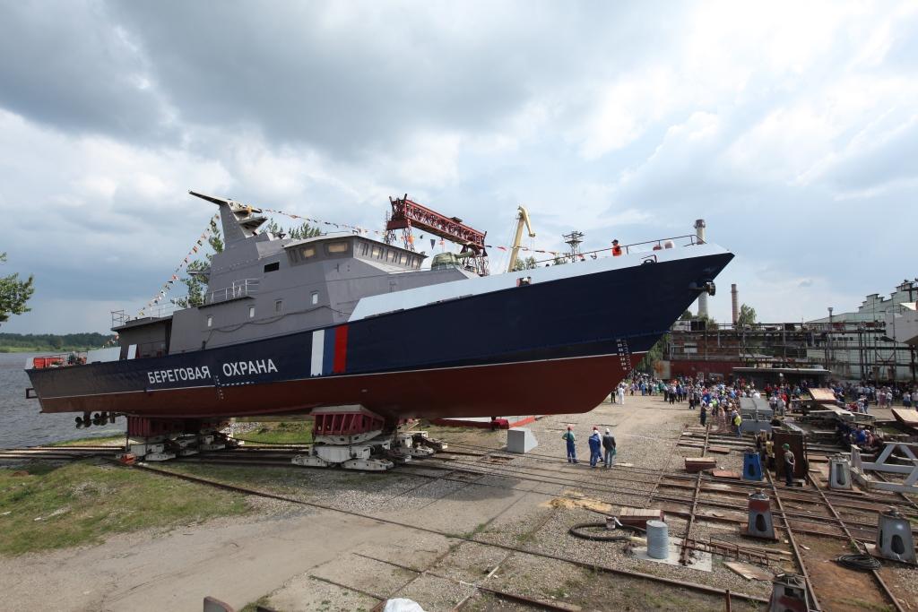 Ярославский судостроительный завод торжественно спустил на воду пограничное сторожевое судно