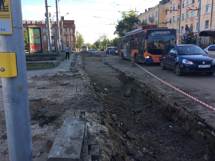 В Рыбинске расширяют дорогу рядом с центральной площадью
