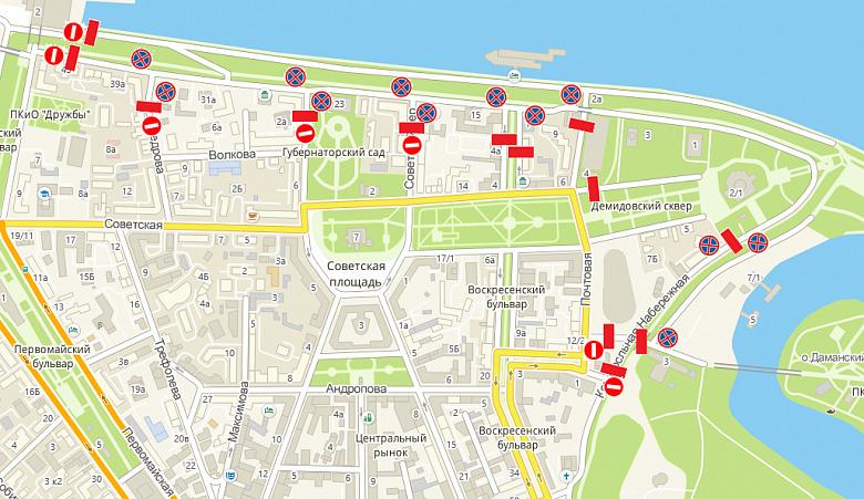 Дороги в центре Ярославля в субботу частично будут перекрыты: схема