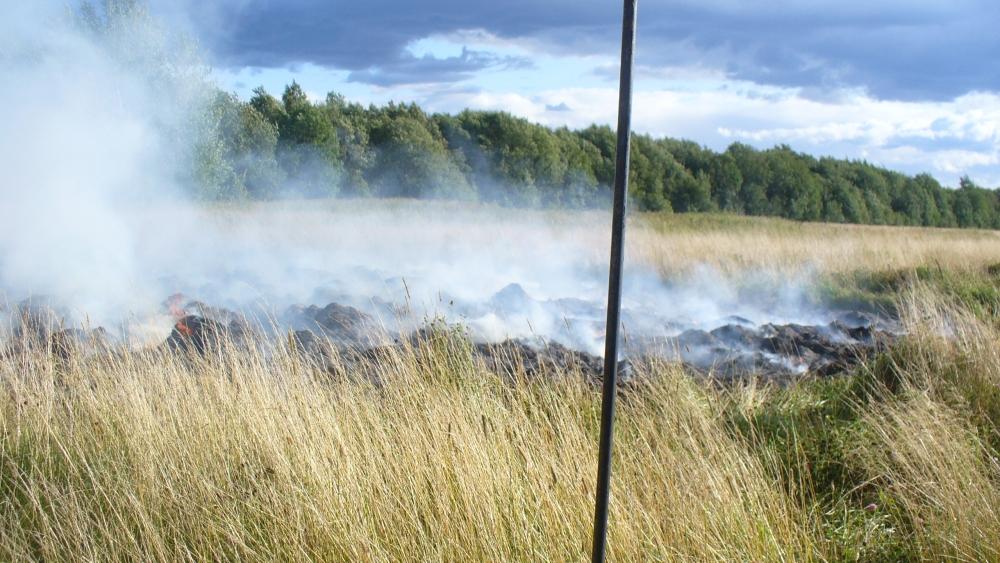 В Ярославской области сгорели рулоны сена на площади 300 квадратных метров