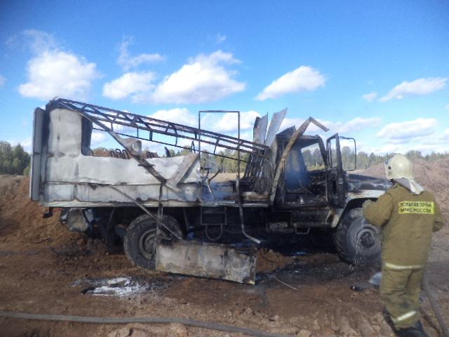 В Ярославской области сгорел грузовик