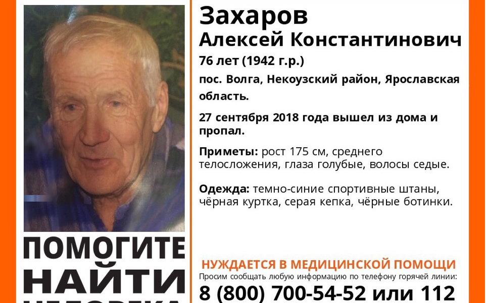В Ярославской области пропал 76-летний мужчина