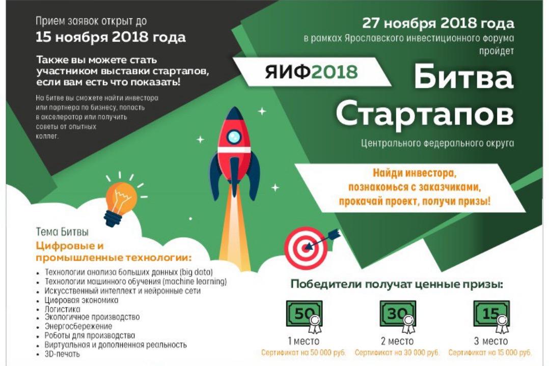 На Ярославском инвестиционном форуме состоится «Битва стартапов»