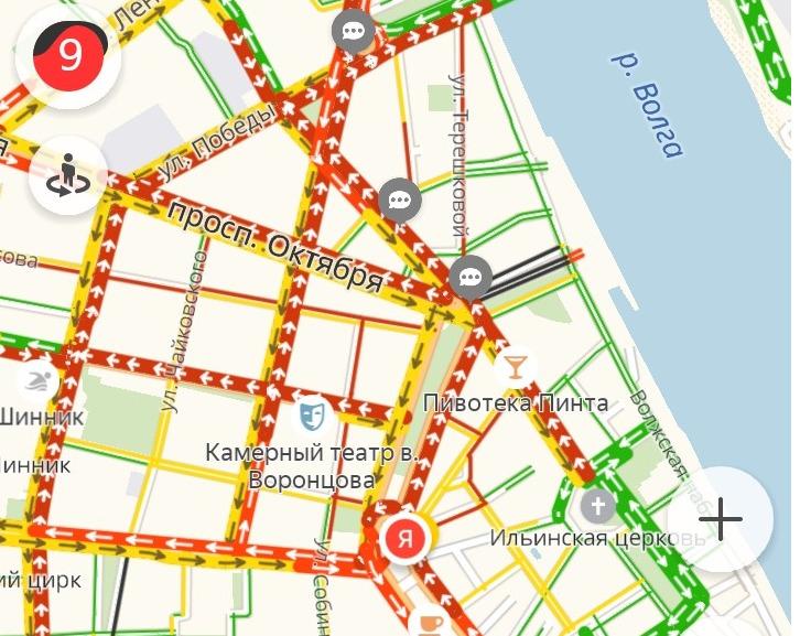 Вечером 11 декабря в Ярославле образовались 10-балльные пробки