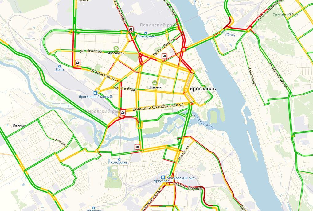 Пробки 9 баллов: утром в Ярославле ДТП сковали дороги во всех районах