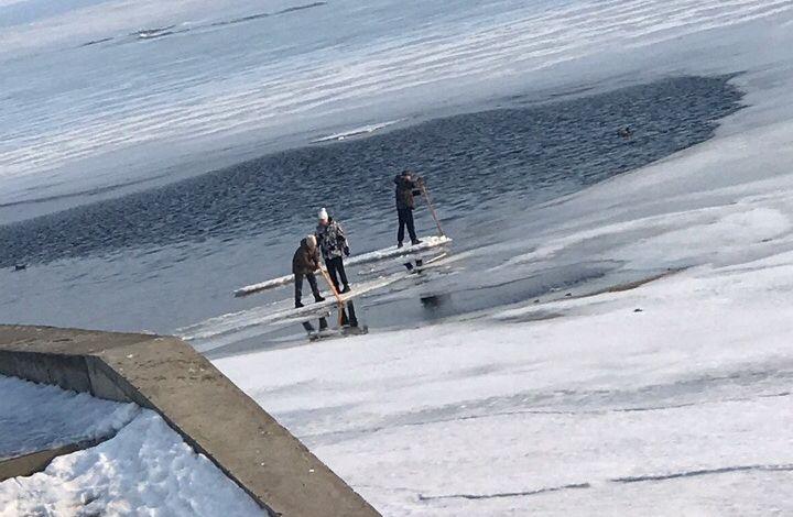 В Рыбинске дети катаются по Волге на льдине: кадры