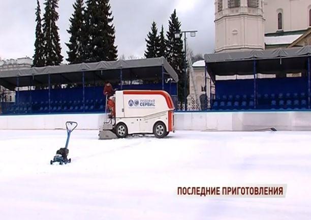Советскую площадь готовят к матчу в честь 70-летия ярославского хоккея: видео