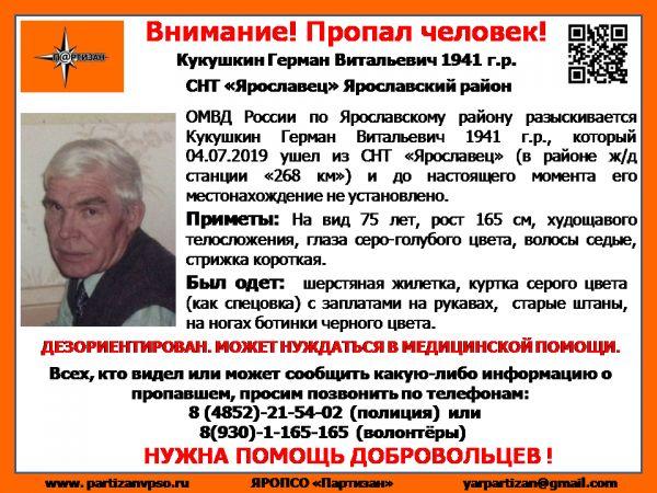 В Ярославском районе пропал 78-летний мужчина