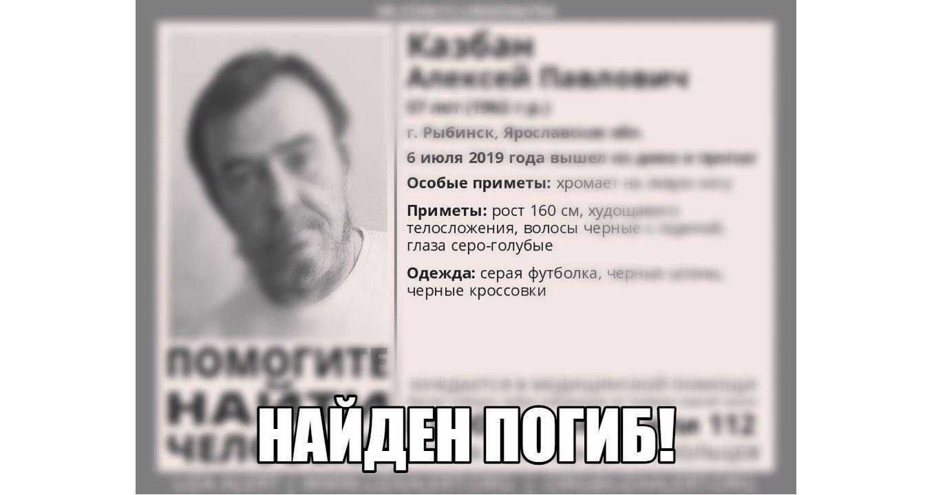 В Рыбинске нашли мертвым пропавшего мужчину