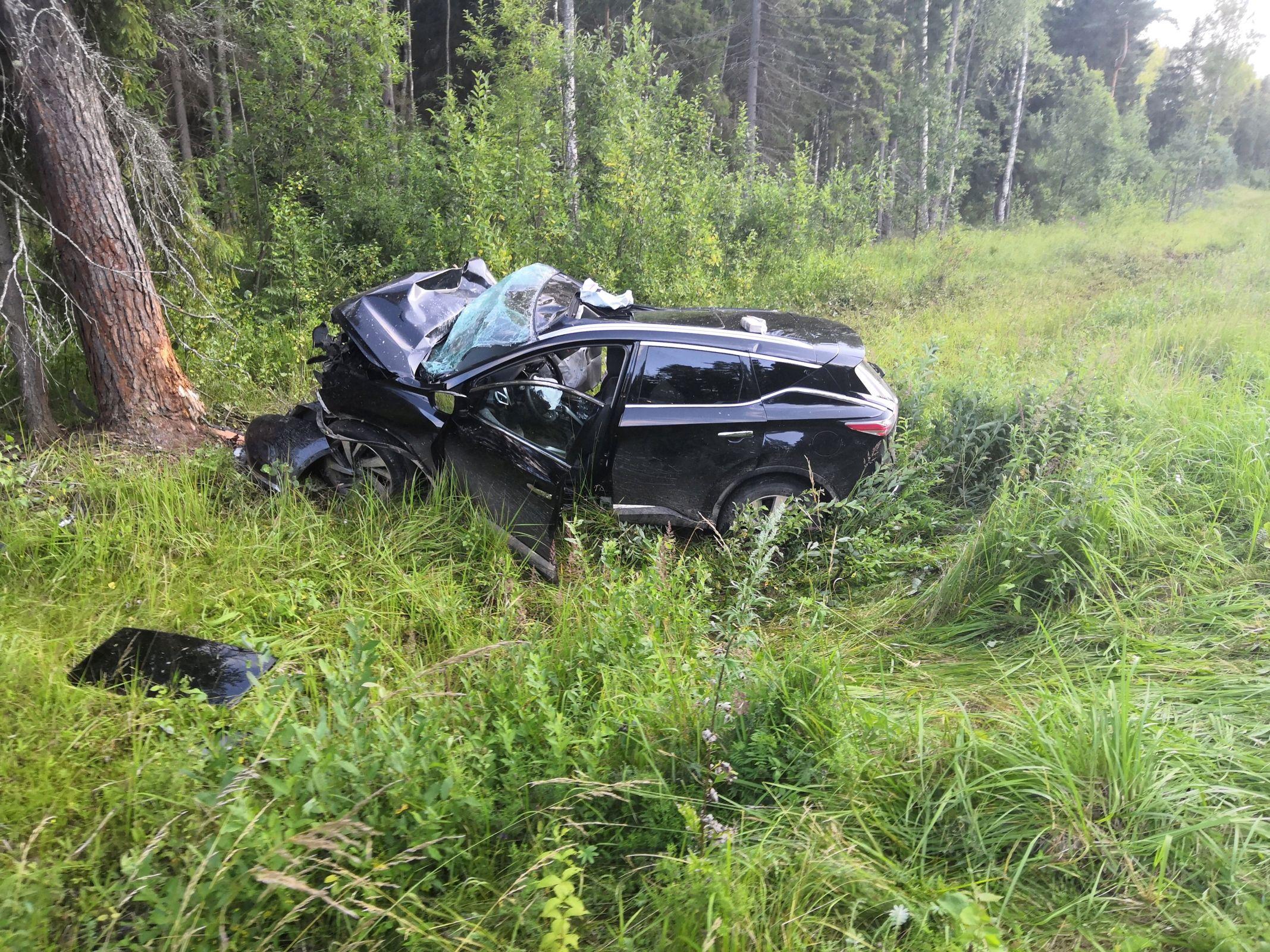 В Ярославской области внедорожник врезался в дерево: двое пострадавших