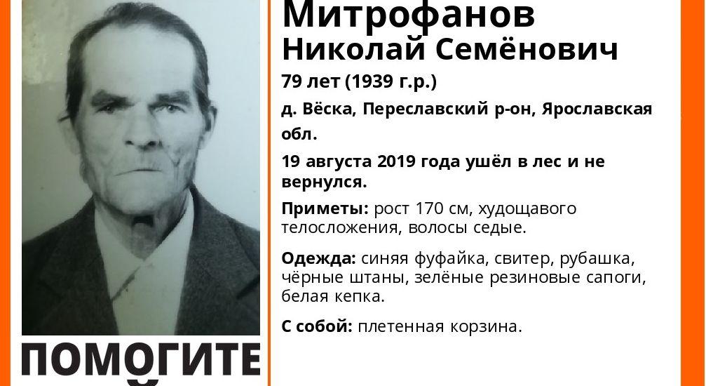 В Ярославской области пропал 79-летний пенсионер