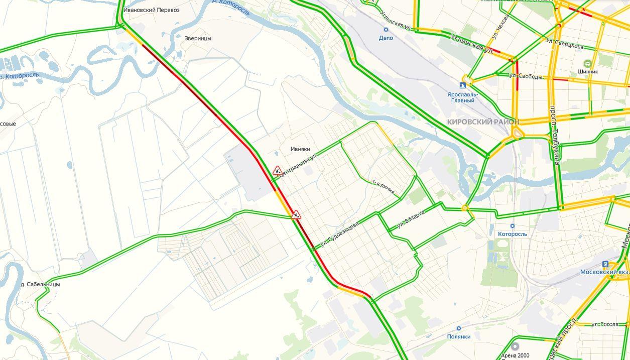 В Ярославле огромные пробки образовались на окружной дороге