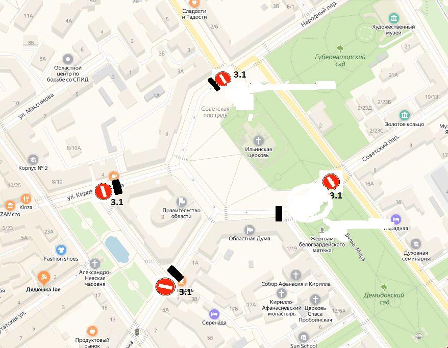 В Ярославле на три недели запретят въезд на Советскую площадь