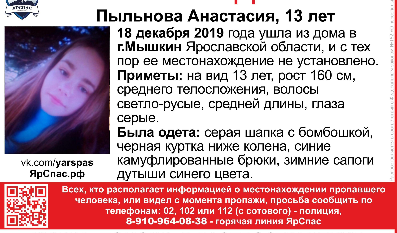 В Ярославской области разыскивают 13-летнюю девочку в камуфлированных брюках