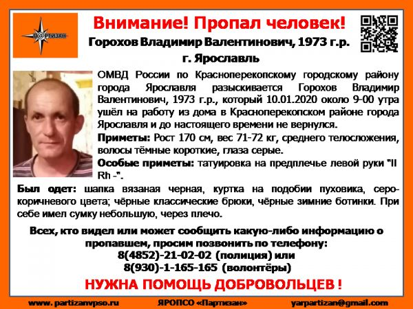 В Ярославле пропал мужчина с татуировкой на плече