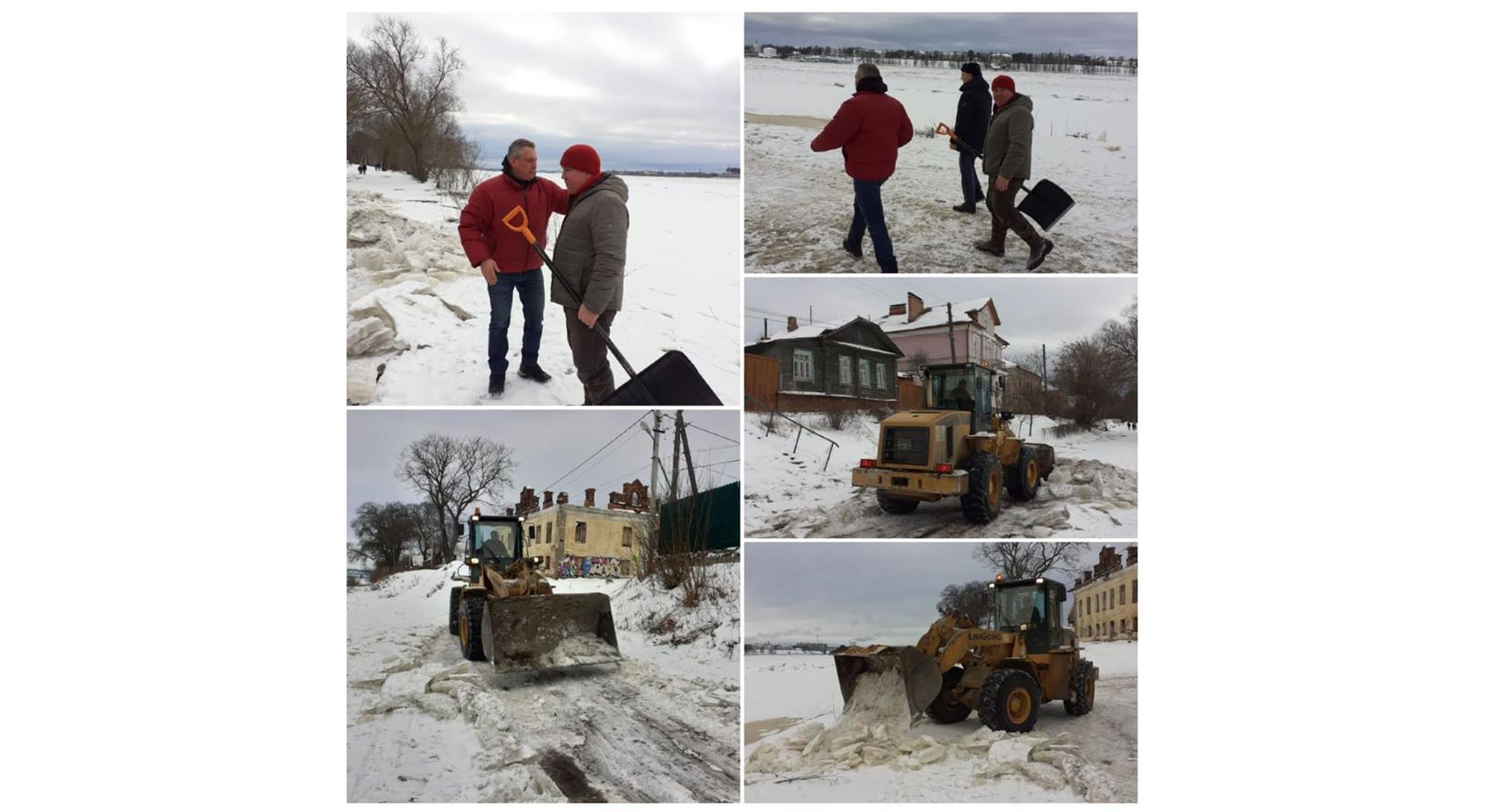 В Ярославле после сообщений в соцсетях очистили ото льда дорогу, которую ранее перекрывали из-за подтопления