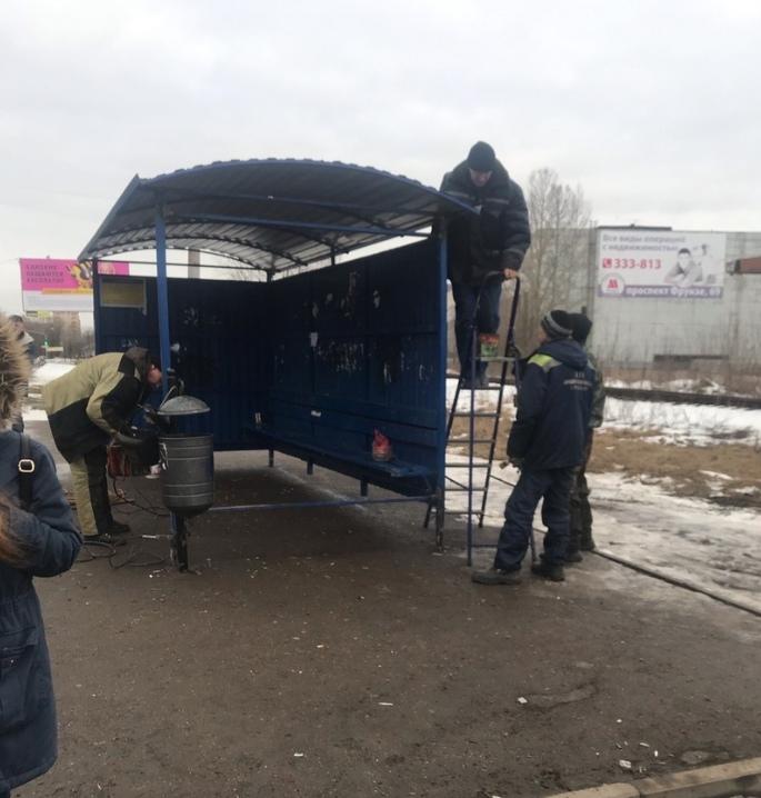 В Ярославле вернули на место унесенную ветром остановку, о которой сообщили в соцсетях