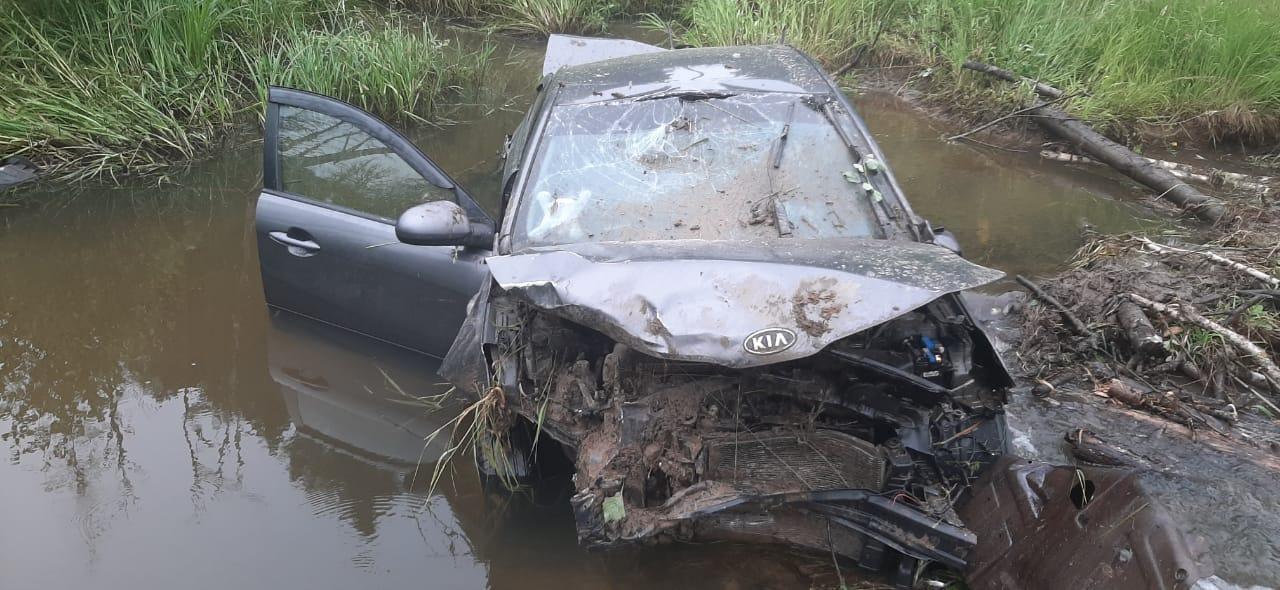 В Ярославской области иномарка вылетела с дороги в водоем
