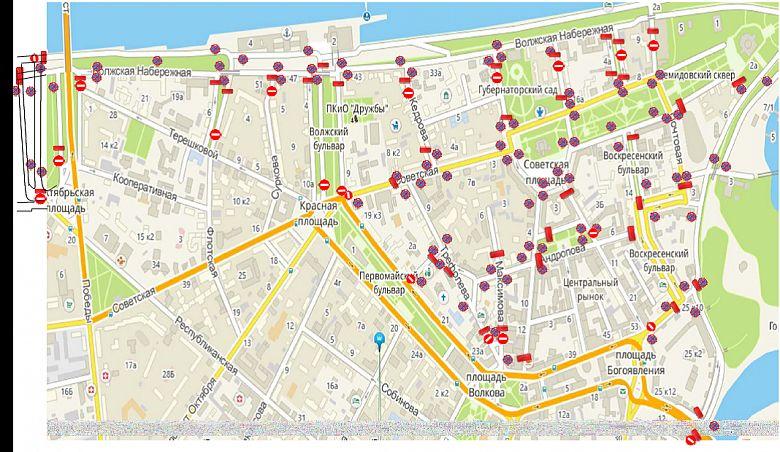 В центре Ярославля перекроют 22 улицы