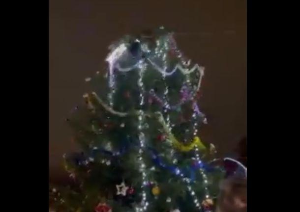 В сети появилось видео, как пьяный вандал упал с городской елки в Ярославской области