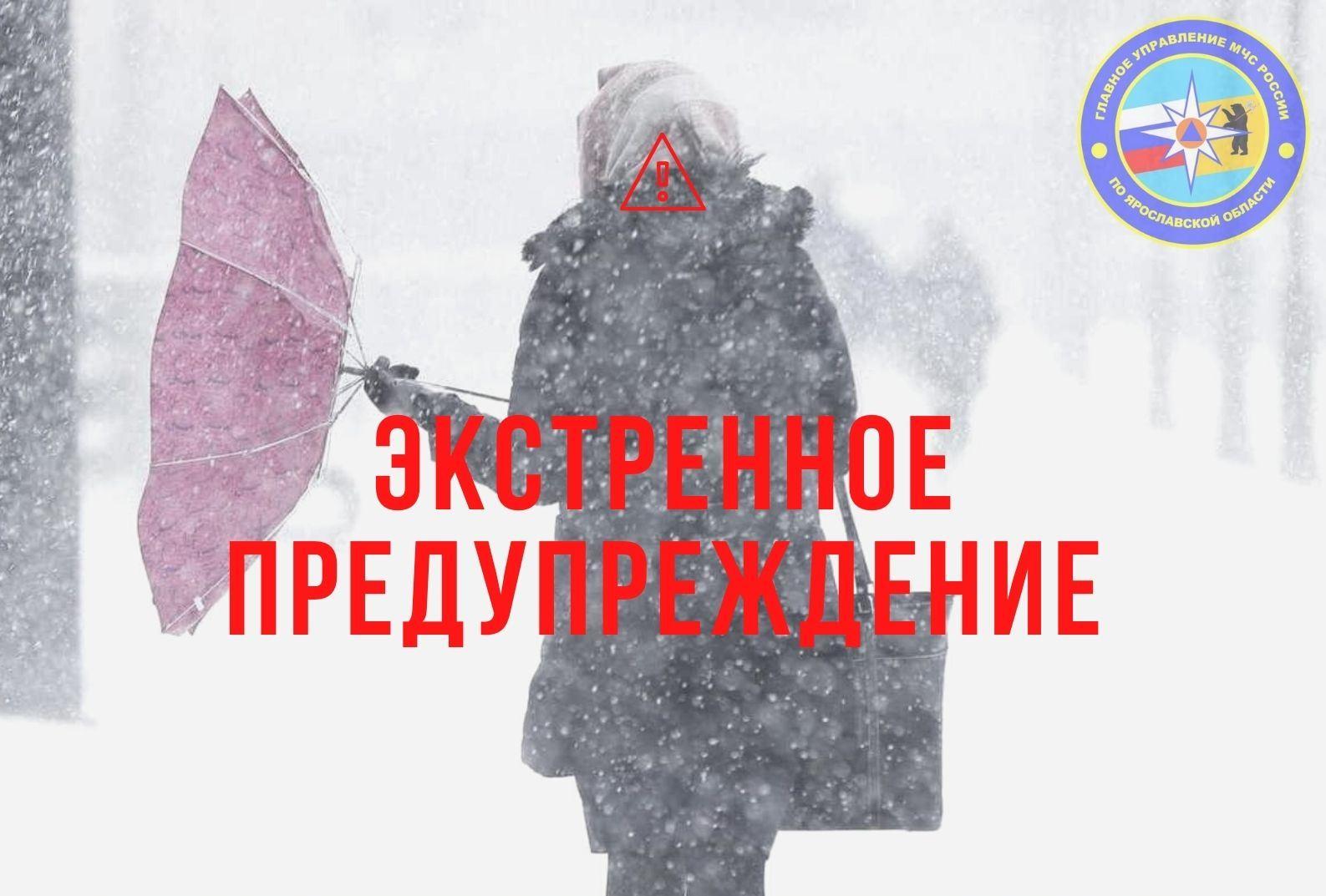 МЧС в Ярославской области опубликовало экстренное предупреждение о сильном снеге и ветре