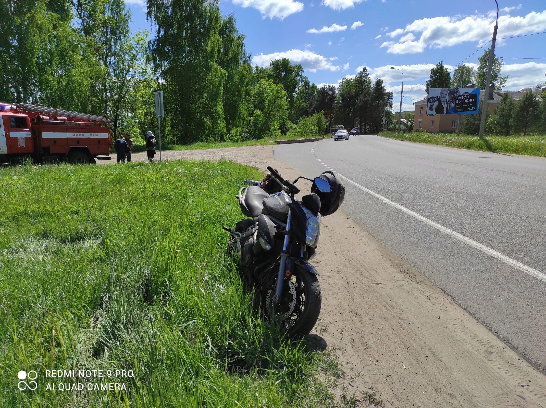 В Рыбинске пьяный мотоциклист без прав получил травмы в результате ДТП