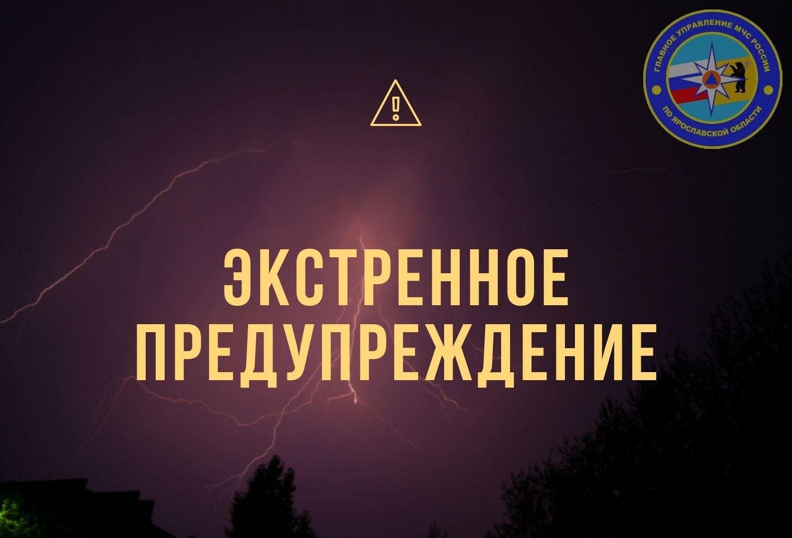 МЧС по Ярославской области опубликовало экстренное предупреждение о грозе и граде