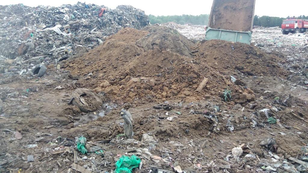 На мусорном полигоне в Рыбинском районе начались работы по пересыпке отходов инертным материалом