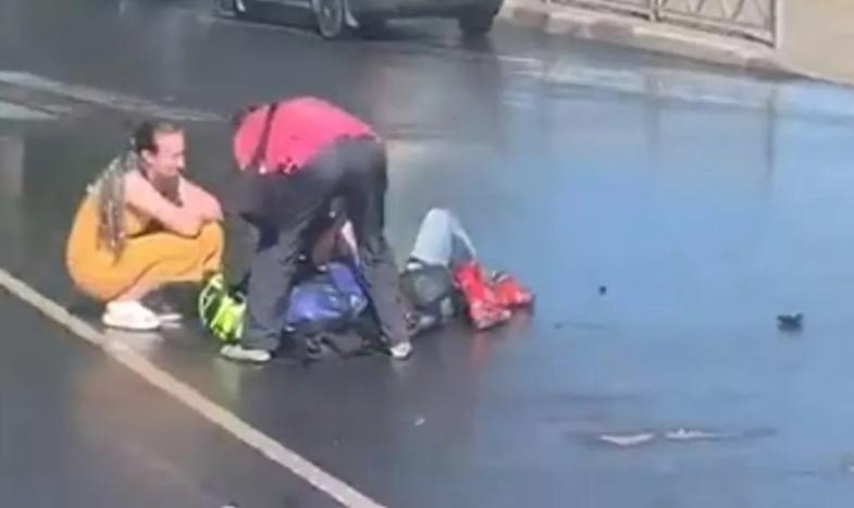В сети появилось видео аварии с мотоциклом на Московском проспекте