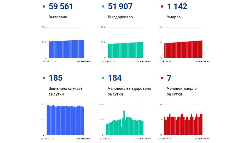 В Ярославской области за сутки коронавирус выявили у 185 человек, семеро скончались